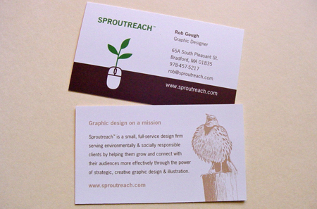 card with mission statement via sproutreachcom - Back Of Business Card