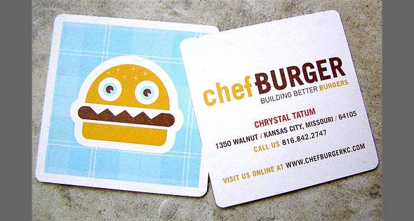 10 fresh business card designs be square the chef burger business card is square bright and fun thus it is unique and enticing perfect for a food business trying to attract new colourmoves