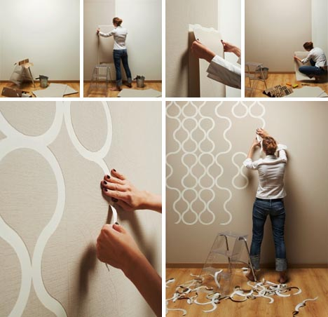 You can also be really fancy and paint underneath the wallpaper first so  that when the pieces are torn away they reveal what's painted beneath as  you can ...