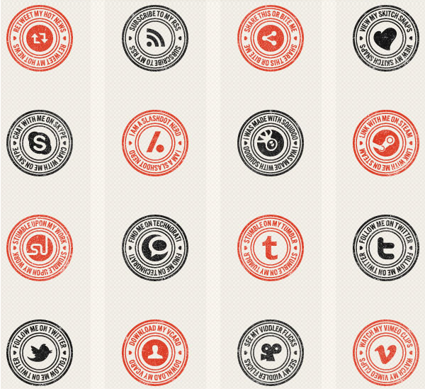 100 Stamp-Like & Vector Social Media Icons Icons Graphic Design Junction - G_2012-12-18_22-31-25