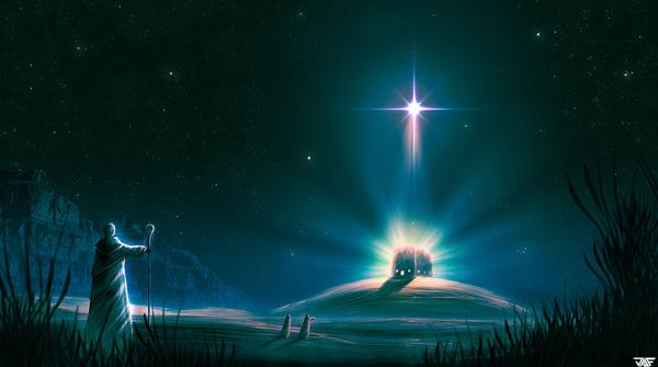 The nativity of jesus told through graphic design