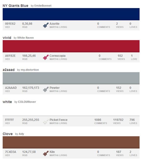 32 NFL Color Palettes