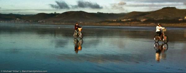 Bike Riders on low minus tide at Sunset on Morro Strand State Beach, Morro Bay, _2014-03-28_10-44-09-Optimized