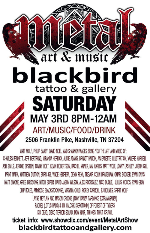 Poster for Blackbird Tattoo and Gallery.