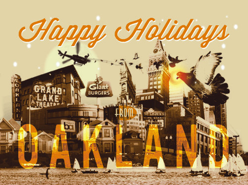 Holiday card cover for Oaklandish.
