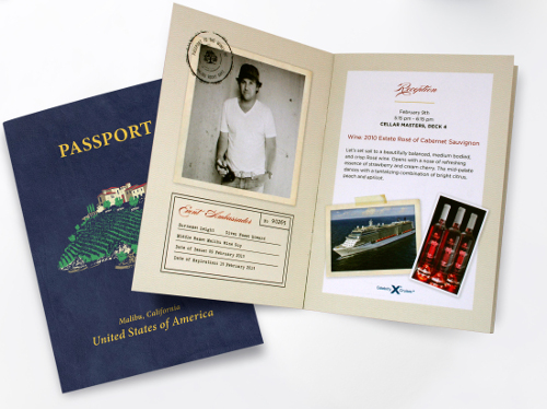 Malibu Rocky Oaks Estate Vineyards passport brochure design by Renee Pulve.