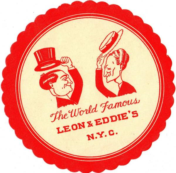 Cocktail Bar Drink Coaster World Famous Leon Eddie's New York NYC Vintage Big _2014-08-20_14-01-32-Optimized