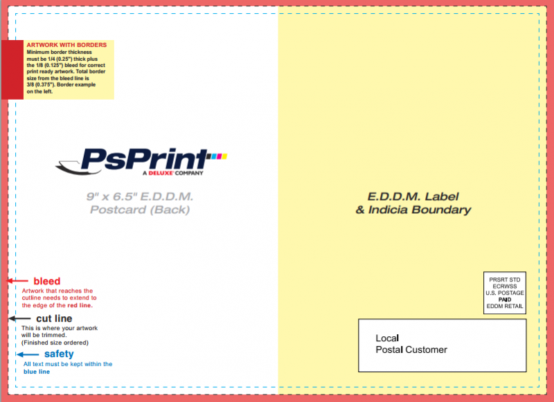 Make sure your EDDM postcard is designed correctly using PsPrint's free layout guidelines.