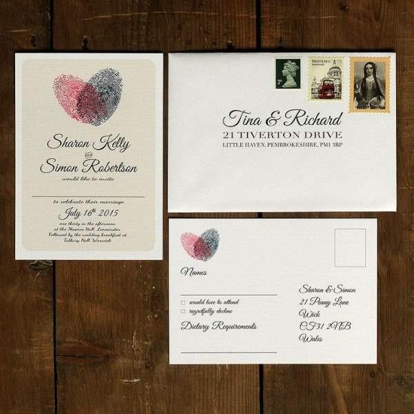 Wedding Invite Etiquette 87 Stunning Fingerprint heart wedding invitation