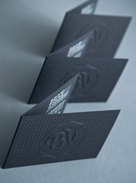 Embossed Black Folded Business Card On Print Mag