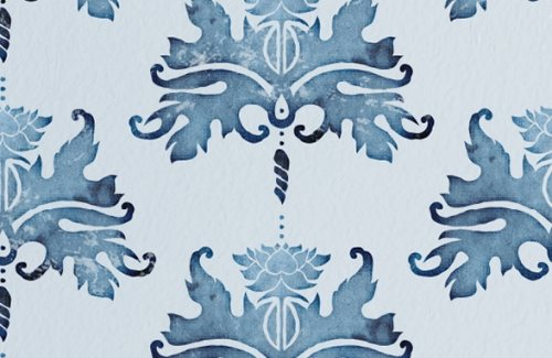 blue damask watercolor background