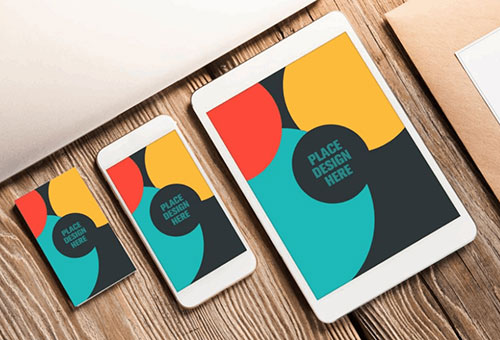 business card mockup with apple devices