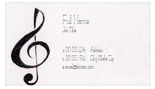This Business Card Features A Large Clef Note On Textured Background Perfect For Musicians Band Directors Musical Instrument Retailers