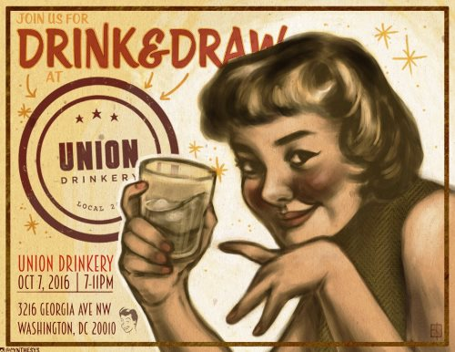 drink and draw flyer