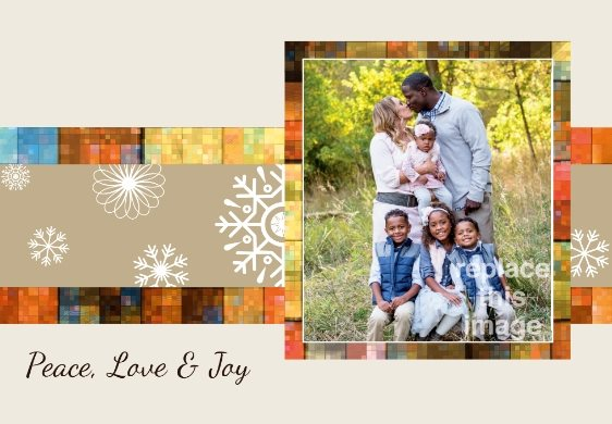 mosaic snowflakes free holiday card template