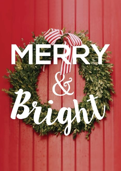 striped wreath free holiday card template
