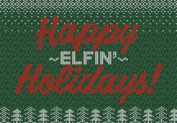 Happy Elfin' Holidays free greeting card template