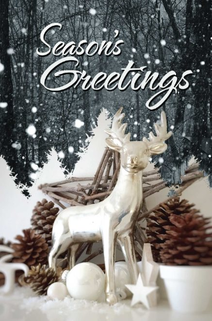 snow deer holiday card template free