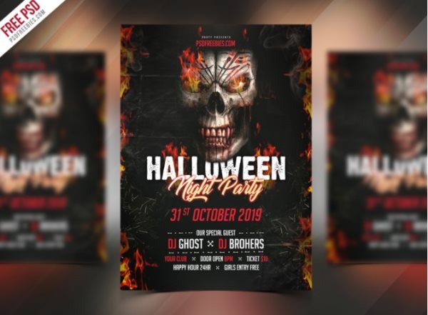free Halloween invitation flyer Photoshop template PSD