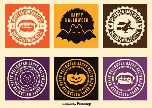 free halloween labels badges stickers vector