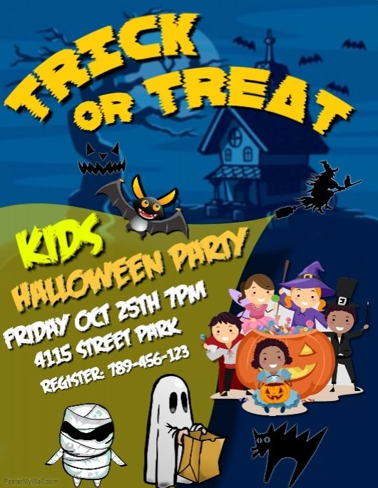 Kids Halloween party flyer template