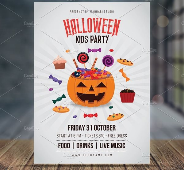 Halloween kids party flyer template