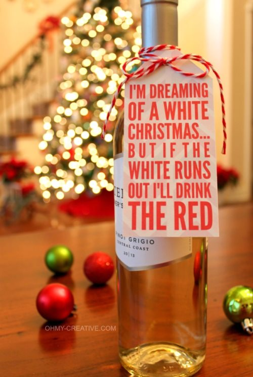 holiday wine bottle tag