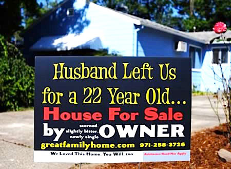 funny for sale by owner real estate yard sign