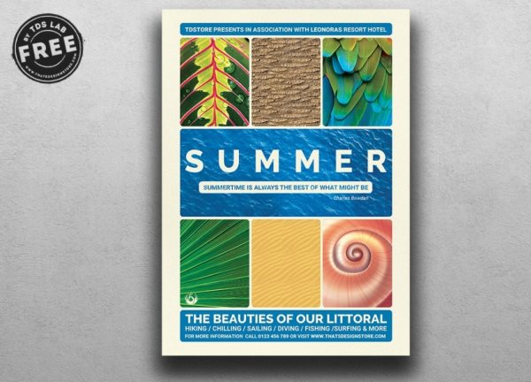 summer vacation flyer psd Photoshop template