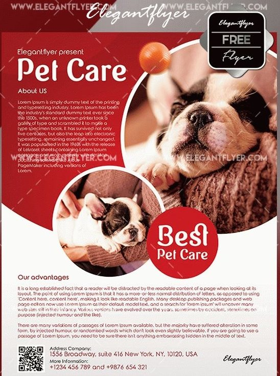 free pet care flyer psd template