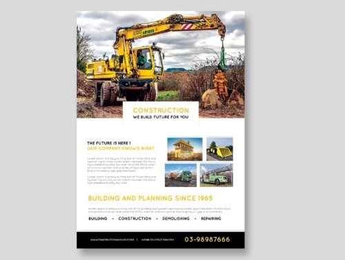 free construction flyer PSD