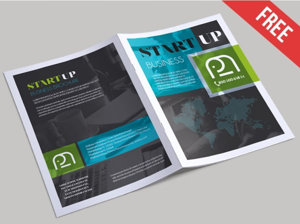 free startup business brochure psd template