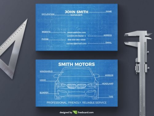 car blueprint free Photoshop business card template