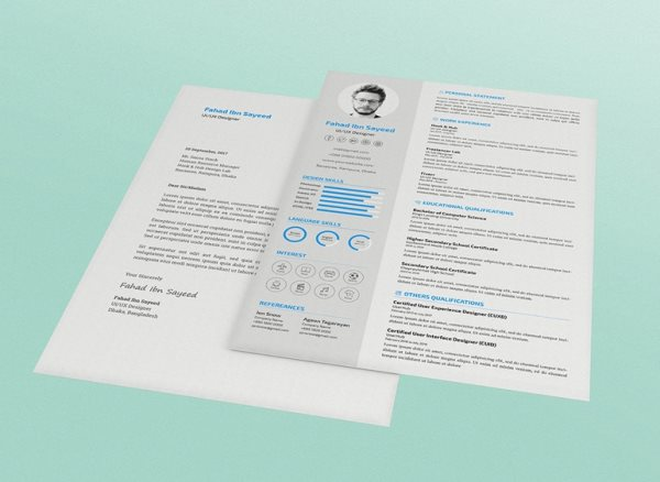 free cv and resume psd template with cover letter