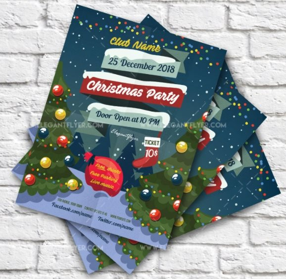 free Christmas party flyer psd template