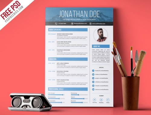 free graphic designer resume cv photoshop template psd