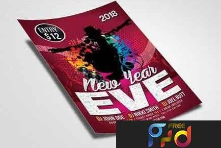 free new year's eve party flyer psd
