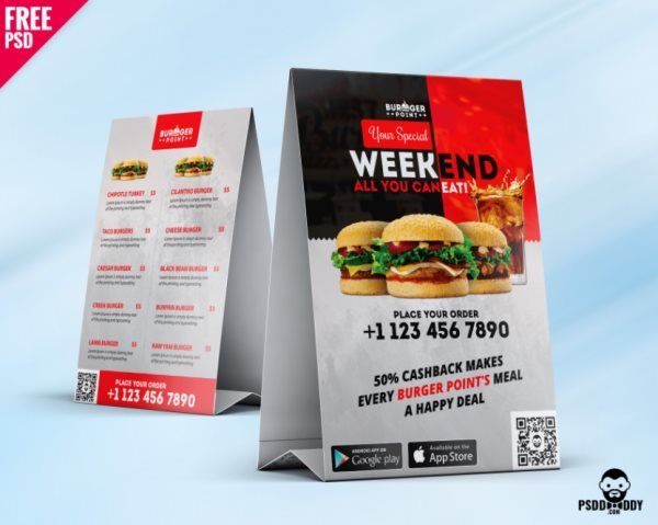 free restaurant table tent menu template psd photoshop
