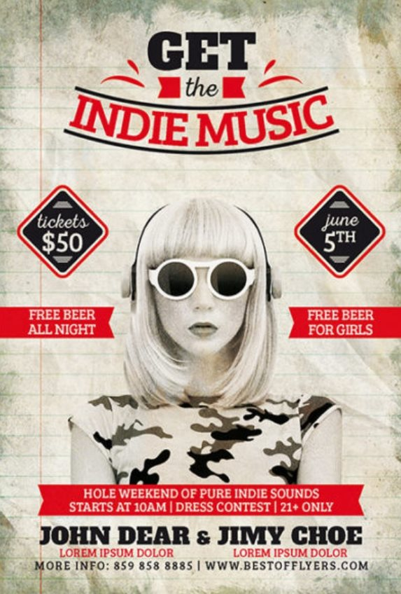 free indie music festival poster