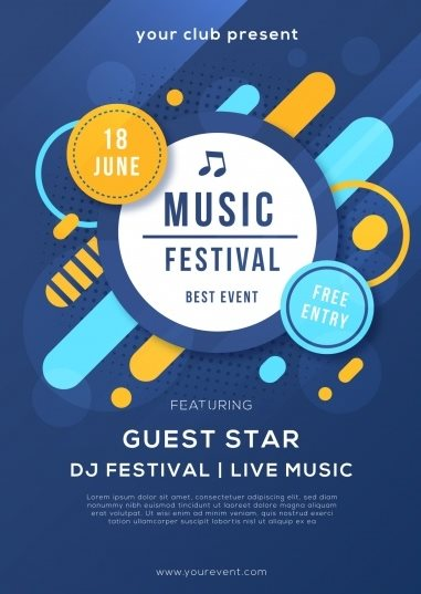 free music festival poster PSD template