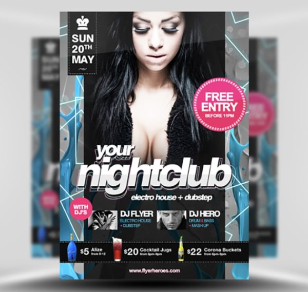 free nightclub flyer template Photoshop PSD
