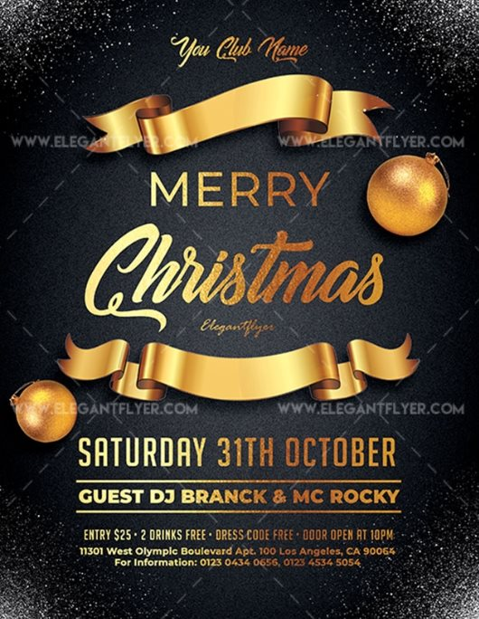 Merry Christmas free party flyer template PSD