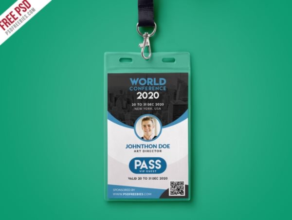 free ID badge PSD template