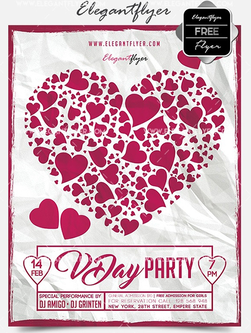 valentine's day flyer photoshop template psd free