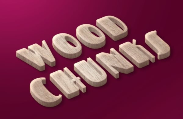 wood chunks free photoshop text effect