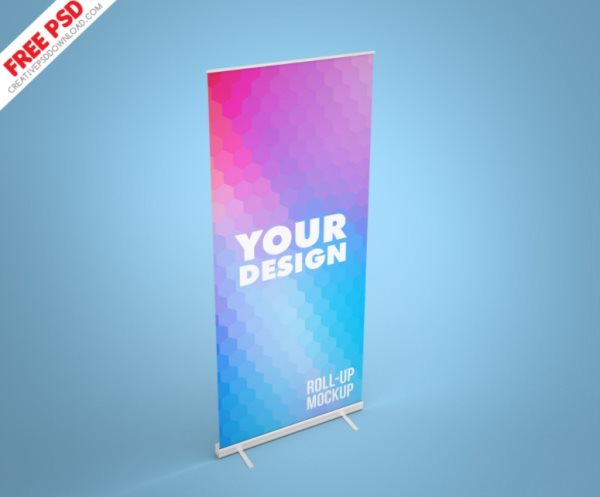 photoshop roll-up banner mockup psd