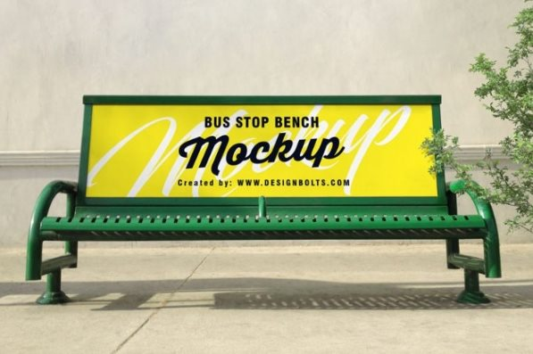 free outdoor bench bus stop advertising psd