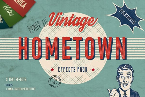 free vintage hometown effects pack for Photoshop