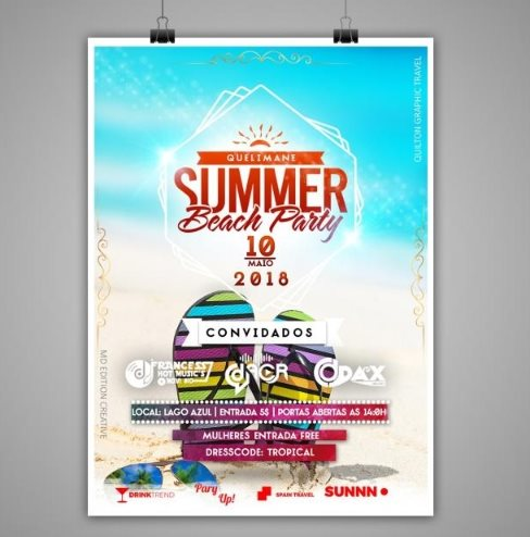 free summer beach party Photoshop template PSD