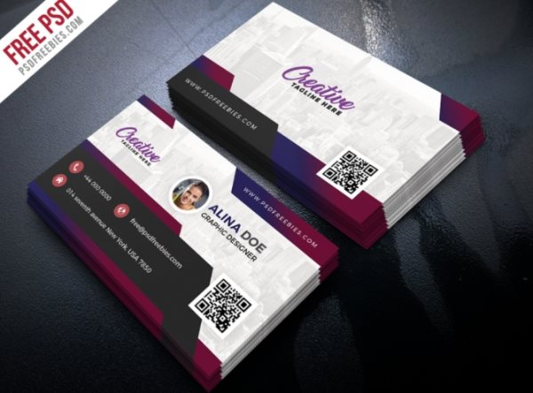 free modern business card photoshop psd template